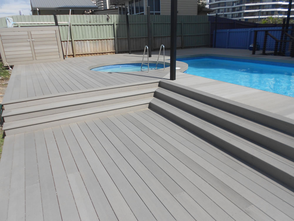swimming pool wood plastic flooring